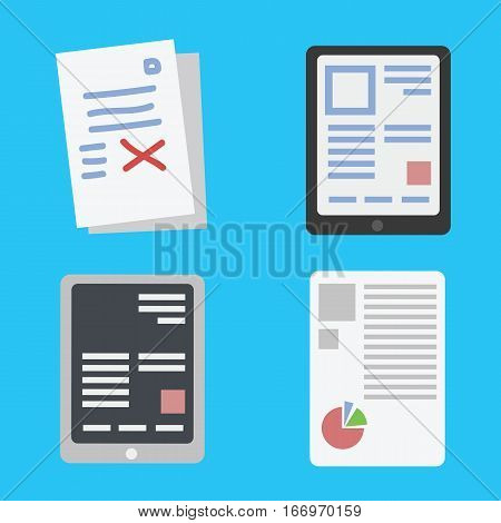 Mobile reading and literature library concept book with text in tablet computer and touchscreen smartphone isolated. Ebook vector illustration.