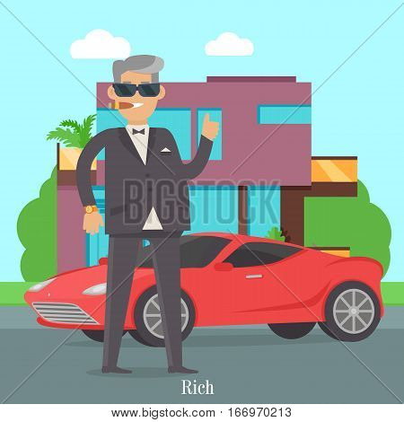 Rich man in expensive suit standing near red coupe car. Handsome guy in stylish clothes near his cool car. Middle aged male in glasses and luxury clock. Cute cartoon character. Vector illustration