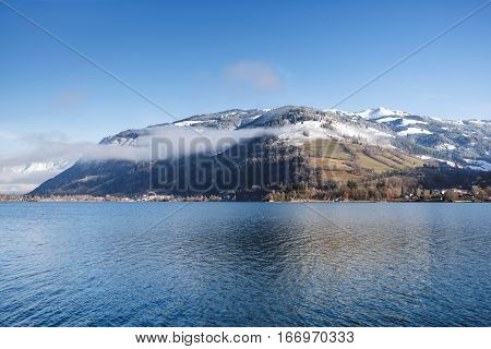 Zell am see lake in winter time