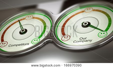 Conceptual 3D illustration of two gauges with text competitors and our company to measure performance horizontal image. Concept of business benchmark or comparative advertising