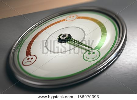 Conceptual 3D illustration of a gauge with needle pointing to the maximum satisfaction icon horizontal image. Customer satisfaction concept.