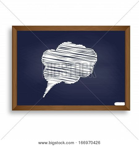 Speach Bubble Sign Illustration. White Chalk Icon On Blue School
