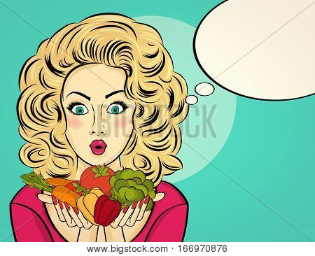 Surprised Pop Art  Woman That Holds Vegetables  In Her Hands . Comic Woman With Speech Bubble