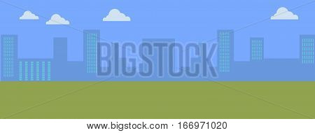 Urban cityscape with blue sky and white clouds. Silhouettes of buildings. Office buildings, building scenery, urban landscape, urban background, city panorama vector illustration in flat