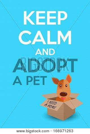 International homeless animals day. Cute puppy in a box. Keep calm an adopt a pet text. Dog rescue protection adoption concept. Flyer poster template. Vector illustration