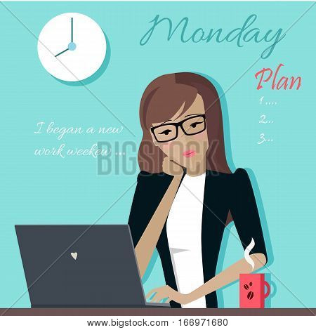 Monday working day. Woman planning her work for a week. Girl writing a plan of her actions for a week. Part of series of daily routine of the week. Working hours, schedule. Vector illustration.