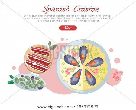 Spanish cuisine banner. Paella traditional Spanish meal with rice and seafood. Jamon dry-cured ham. Tapas variety of appetizers, snacks, in Spanish cuisine. Spain food concept in flat design. Vector