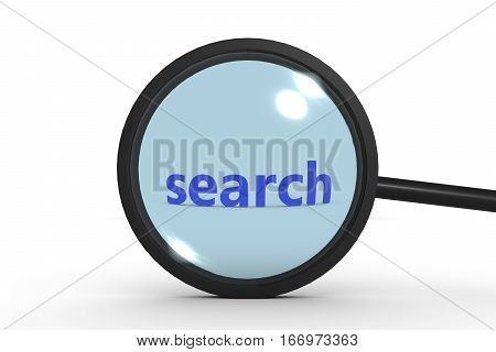 search  magnifying glass shows the search on the Internet or elsewhere 3d illustration
