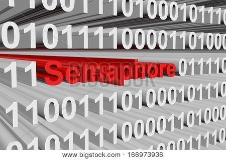 semaphore in the form of binary code, 3D illustration