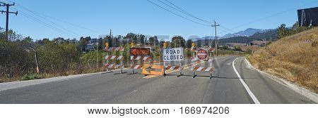 Road Closed sign on highway in California