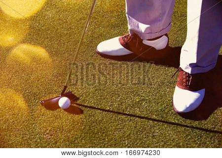 Person Putting Golf Ball