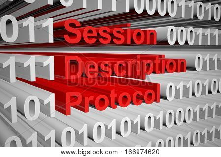 Session Description Protocol in the form of binary code, 3D illustration