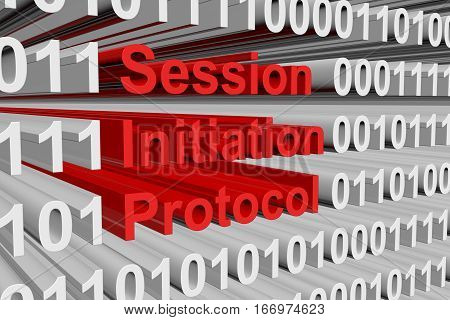 Session Initiation Protocol in the form of binary code, 3D illustration