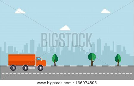 Illustration of delivery truck concept collection stock