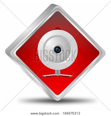 silver red button with webcam - 3D illustration