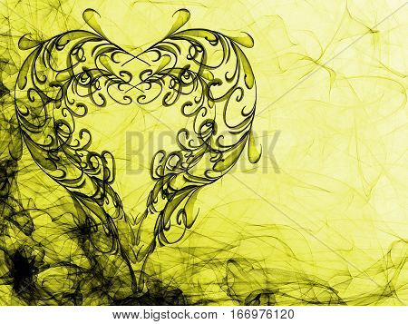 Yellow Hearts Lovely Grunge Background, Abstract Textured Romantic Backdrop