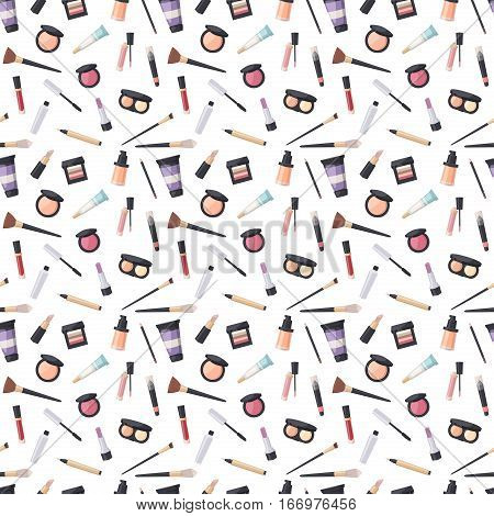 Makeup icons perfume seamless pattern mascara care brushes and comb faced eyeshadow. Personal glamour accessory. Vector make up beauty fashion cosmetic background.