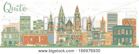 Abstract Quito Skyline with Color Buildings. Business Travel and Tourism Concept with Historic Architecture. Image for Presentation Banner Placard and Web Site.