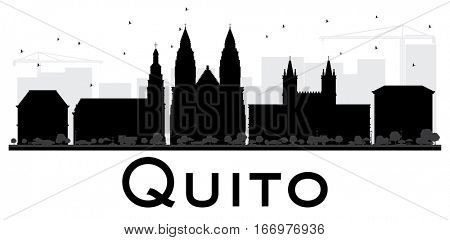 Quito City skyline black and white silhouette. Simple flat illustration for tourism presentation, banner, placard or web site. Cityscape with landmarks