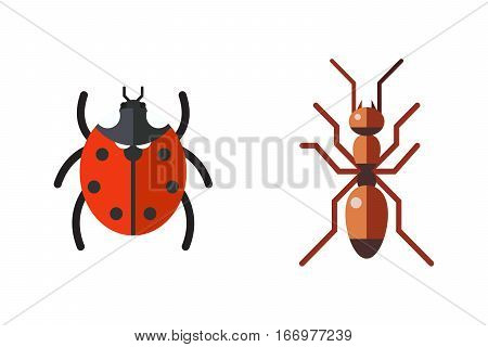 Insect icon flat ladybug and ant isolated on white background. Nature flying butterfly beetle vector ant. Wildlife spider grasshopper or mosquito dragonfly animal illustration.