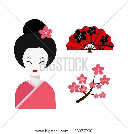 Japanese woman folk-art maiden cute kokeshi beautiful asian character vector. Traditional kimono female charming art people dressed fashion geisha.