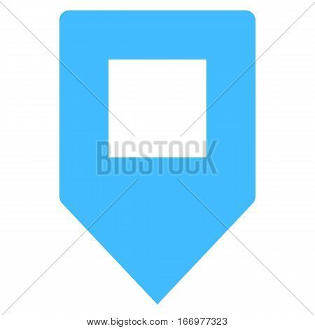 Quick and easy recolorable square shape isolated from background. Flat map pin sign location icon web internet cartography button. Vector illustration a graphic element for design