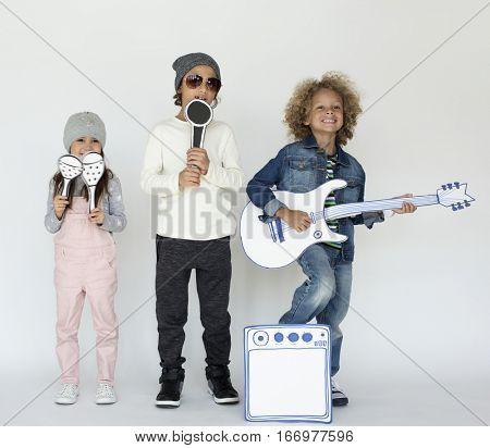 Diverse Kids Music Paper craft Concept