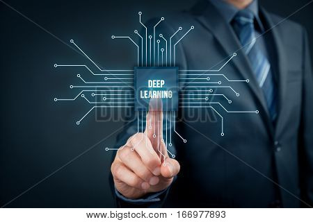 Deep structured learning, hierarchical learning or deep machine learning concept - learning methods based on learning representations of data. Businessman or programmer click on abstract symbol of a chip with text deep learning connected with data represe