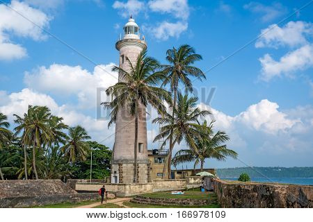 Beautiful view with lighthouse in old colonial fort Galle in Sri Lanka