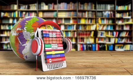 E-boock Whith Globe Audio Learning Languages 3D Render Image Success Knowlege Concept