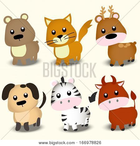 Very high quality original trendy vector set with Cute animals
