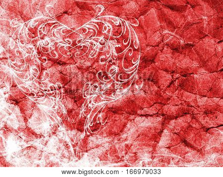 Red Heart Lovely Grunge Background, Romantic Backdrop