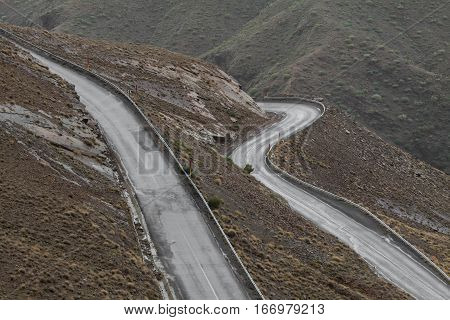 Wide Angle View Of Winding Road In Dades Valley, Morocco