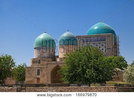 Kok Gumbaz mosque, Shahrisabz, Uzbekistan, on a sunny day