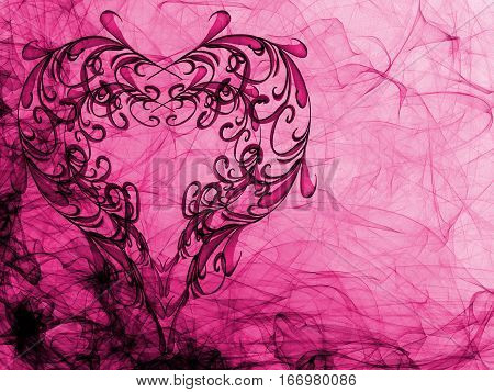 Purple Heart Lovely Grunge Background, Romantic Backdrop