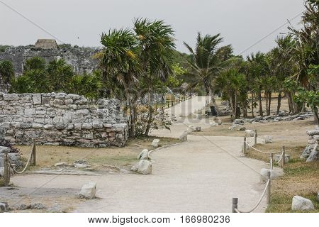 Ancient Mayan Architecture and Ruins located in Tulum Mexico off the Yucatan Peninsula