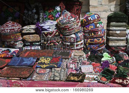 The traditional Uzbek cap, named tubeteika, or kalpoq, decorated with embroidery. Bukhara, Uzbekistan