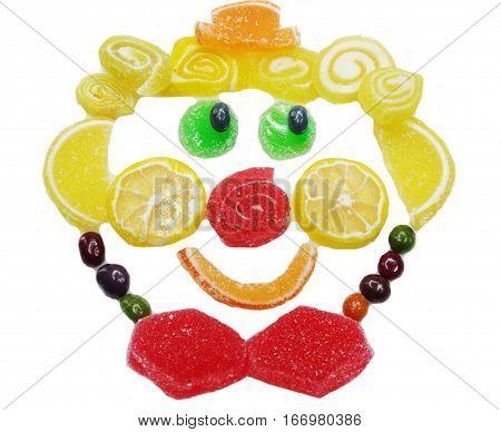 creative marmalade candy sweet child dessert clown face form