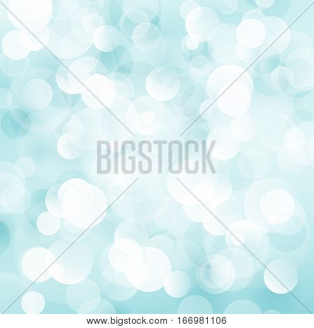 Cyan Soft Bright Abstract Bokeh Background, Soft Glow of the Sun ,Defocused Lights