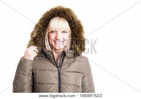 Portrait Of Lady Posing Wearing Winter Furry Hood