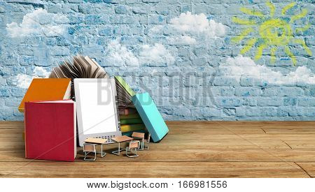 E-book Reader Books And Tablet 3D Render Image On Wood Flor Success Knowlege Concept