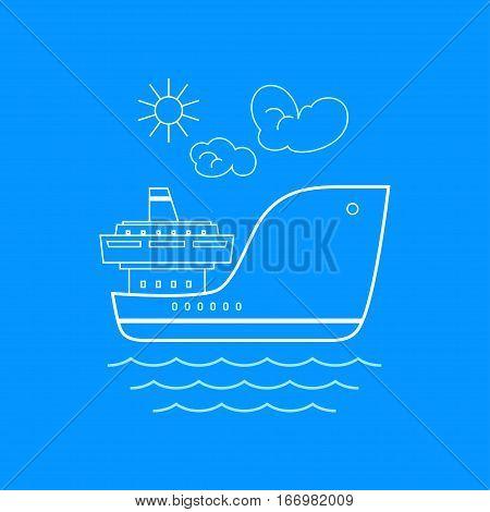 Cargo Ship, Marine Emblem with Dry Cargo Ship, Line Style, Logo Design Element ,Sea Freight Transportation ,Logistics