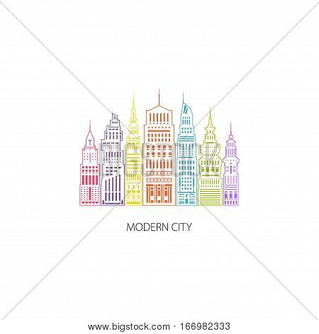 Colorful Modern Big City with Buildings and Skyscraper ,Architecture Megapolis ,City Financial Center ,Flat Architecture Concept ,Logo Design Element ,Emblem for Real Estate ,Linear Style Design