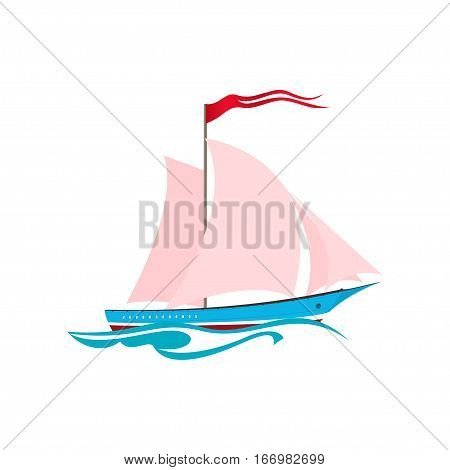 Yacht on the Waves, Sailing Vessel Isolated on White, Travel Concept
