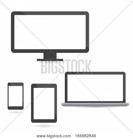 Set of computer monitors laptops tablets and mobile phones. Set of electronic gadgets isolated on white background. Vector illustration.