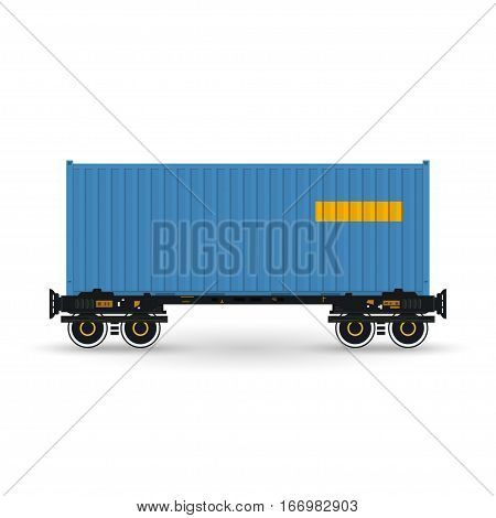Blue Container on Railroad Platform, Railway and Container Transport, Platform with Container Isolated on White