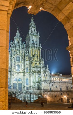 Night view of the Santiago de Compostela Cathedral