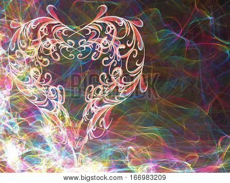 Multicolored Heart Lovely Grunge Background, Textured Romantic Heart Abstract Line Backdrop