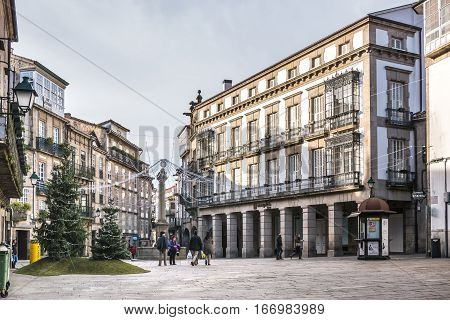 Santiago de Compostela Spain - December 14 2013 - View of the beautiful Cervantes Square in Santiago de Compostela