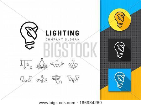 Lighting and lamps logo. Business concept lighting store, electricals factory, lamps manufacturing. Brand identity graphics, line icon set. Vector isolated symbols